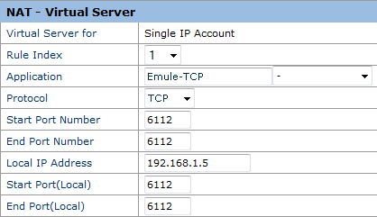 Huawey Echolife HG520s - Virtual Server TCP