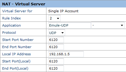 Huawey Echolife HG520s - Virtual Server UDP